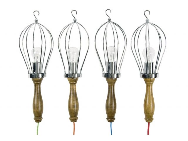h nge lampe holz lampe mit buntem kabel 50 cm. Black Bedroom Furniture Sets. Home Design Ideas