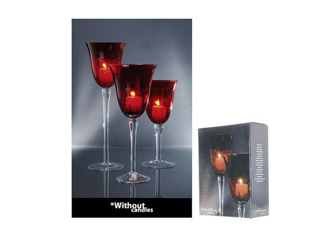 Kerzenhalter set glas auf fuß tlg craquele rot kochgeschir