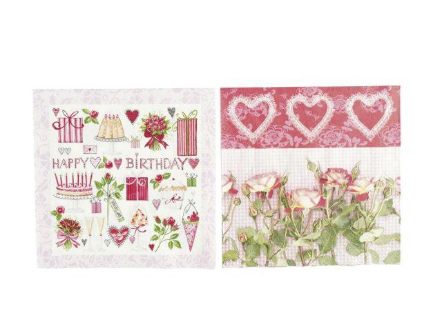 servietten zelltuchservietten rosen und herzen rosa 20 stk. Black Bedroom Furniture Sets. Home Design Ideas