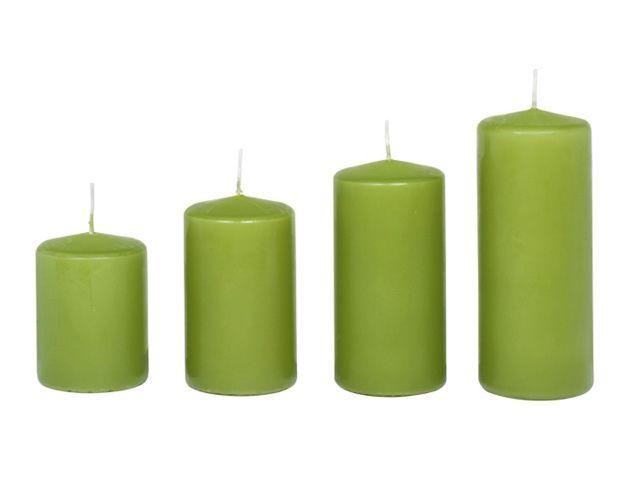 Stumpenkerze Kerze 10x7 cm olivgrün