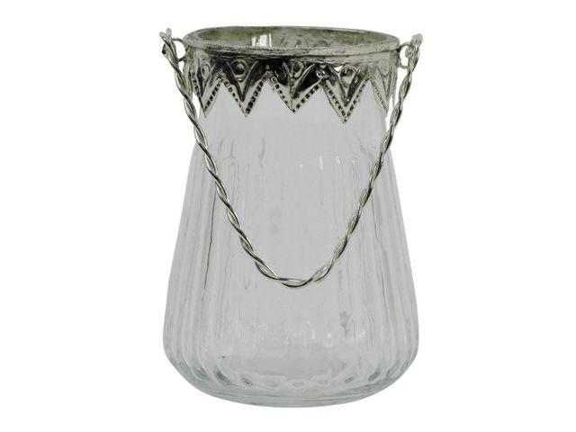 teelichthalter glas mit metallrand und henkel antik silber 11x7 cm. Black Bedroom Furniture Sets. Home Design Ideas