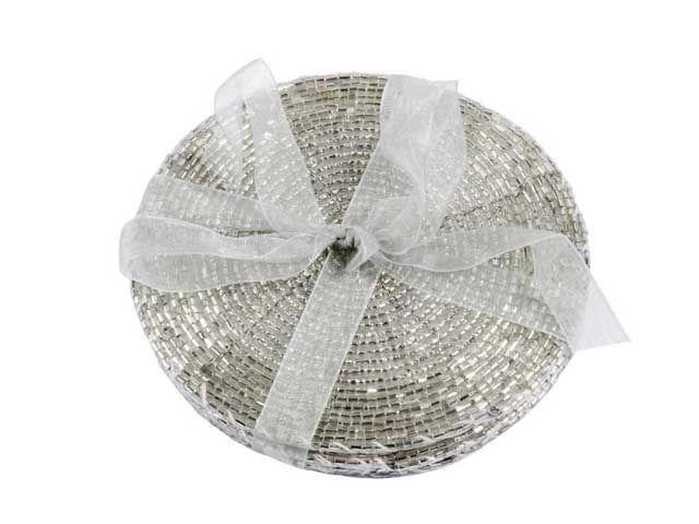 Untersetzer Perlen 4er-Set silber 10 cm