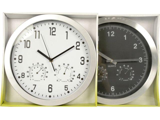 wanduhr mit thermometer aluoptik 30 cm kochgeschirr. Black Bedroom Furniture Sets. Home Design Ideas