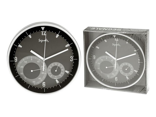 wanduhr mit thermometer und hygrometer kunststoff 25 cm silber schwar. Black Bedroom Furniture Sets. Home Design Ideas
