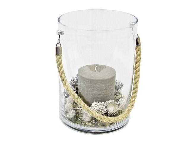 windlicht glasvase zylinder mit kordel klar 20x22x29 cm kochgeschir. Black Bedroom Furniture Sets. Home Design Ideas