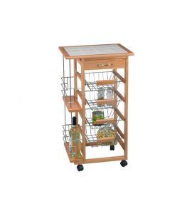 Kuchenwagen Holz 47x37x83cm Kochgeschirr Kuchenwerkzeuge Ged