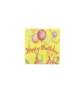 Servietten Zelltuchservietten Happy Birthday 20 Stk. 33x33 cm