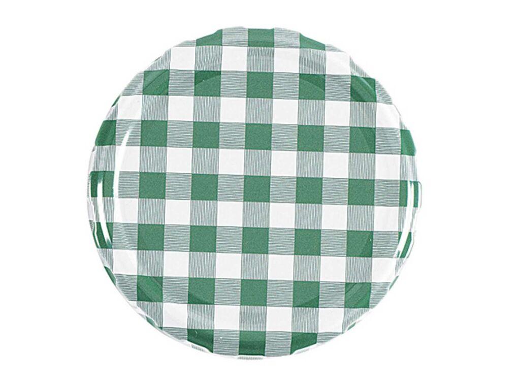 Twist-off-Deckel Schraubdeckel sterilisationsfest grün-weiß kariert 82 mm